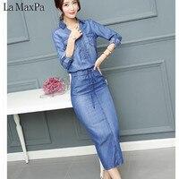 Denim dresses 2018 Summer Dress Women Washed Blue Female Long Sleeve Jeans Dress Casual Ziper V Neck Slim Waist Spring Clothing