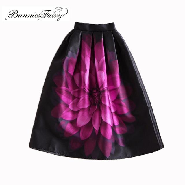 BunniesFairy Autumn Audrey Hepburn Vintage Retro Fantasy Purple Flower Floral Print High Waist Pleated Midi Skirt Black Saias