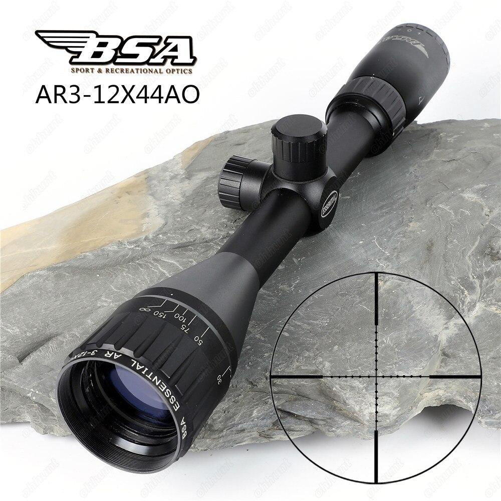 все цены на BSA Essential AR 3-12x44 AO Hunting Optics Riflescopes Mil Dot Reticle Shooting Air Gun Rifle Scopes Sight with Metal Lens Cover онлайн
