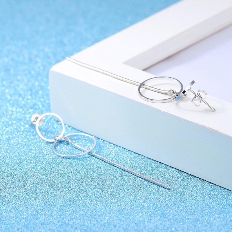 Fashion Silver 925 Drop Ear Line 2019 Jewelry Two Round Korean Statement Metal Silver Long Tassel Earrings For Women 3