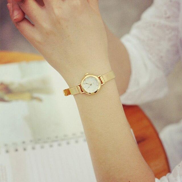 Gold Watch Women Watches Mesh Stainless Steel Fashion Discount Female Clock Rhinestone Crystal Relogio relojes