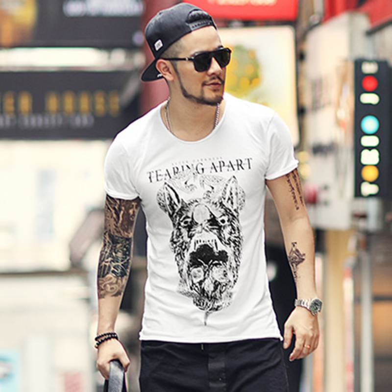 Summer Black Men Printed Skull Short Sleeve Cotton Casual O Neck Slim T-shirt Metrosexual Men Fashion Gothic Style Top Tees T356