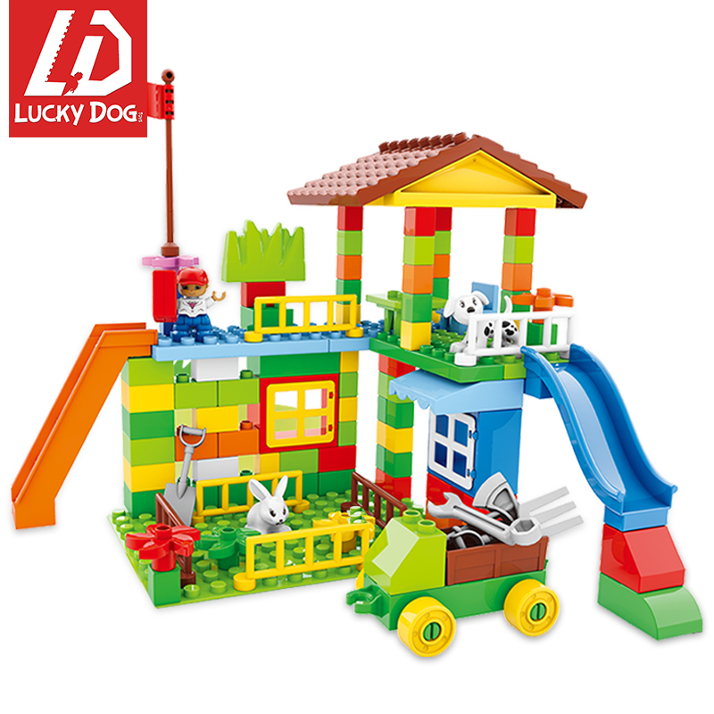 113pcs Legoing DUPLO Big Size Building Blocks Town House Farm Compatible with Legoing Toys for Children 120pcs farm building blocks diy toys early learning self locking bricks baby educational toys compatible with duplo play house