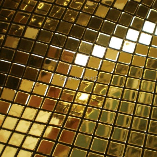 Metall Goldene Mosaik Spiegel Aluminium Kunststoffplatte Goldfolie  Mosaikfliesen Für Küche Backsplash Dekoration Fliesen HMSM1010