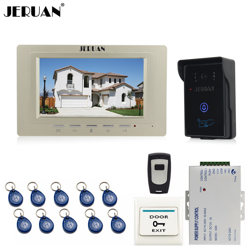 JERUAN 7 inch Video Intercom Video Door Phone System 1 monitors + 700TVL RFID Access Waterproof Touch key Camera+Remote control jeruan 7 video door phone record intercom system 3 monitors 700tvl rfid access ir night vision camera electric drop bolt lock