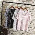 Kesebi 2017 Primavera Verão New Hot Moda Casual Feminina Com Decote Em V Plissada Baisc Encabeça As Mulheres Plus Size Coreano Senhoras Listradas Camisetas