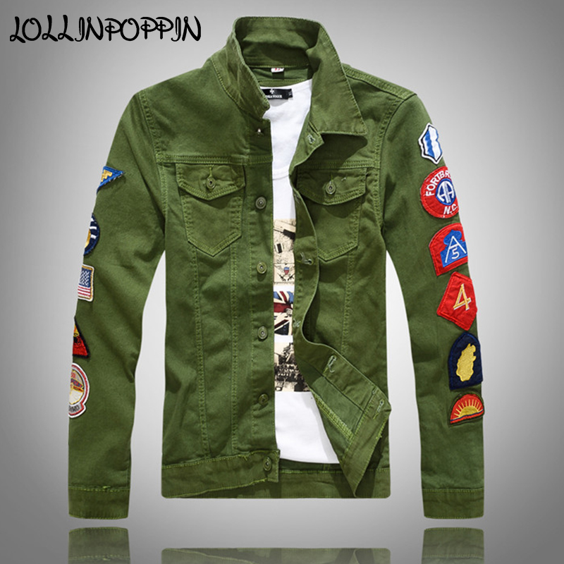 Hop Style Men Hip Mens Jacket Badges Army Jackets Sleeves Jean With Turn At 8Military Green in Down Denim White Embroidery Collar Jacket US38 VGUMpSqz