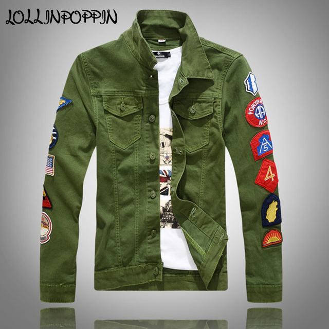 adb5a387548 Military Style Men Jean Jacket With Embroidery Badges At Sleeves Turn Down  Collar Mens Hip Hop