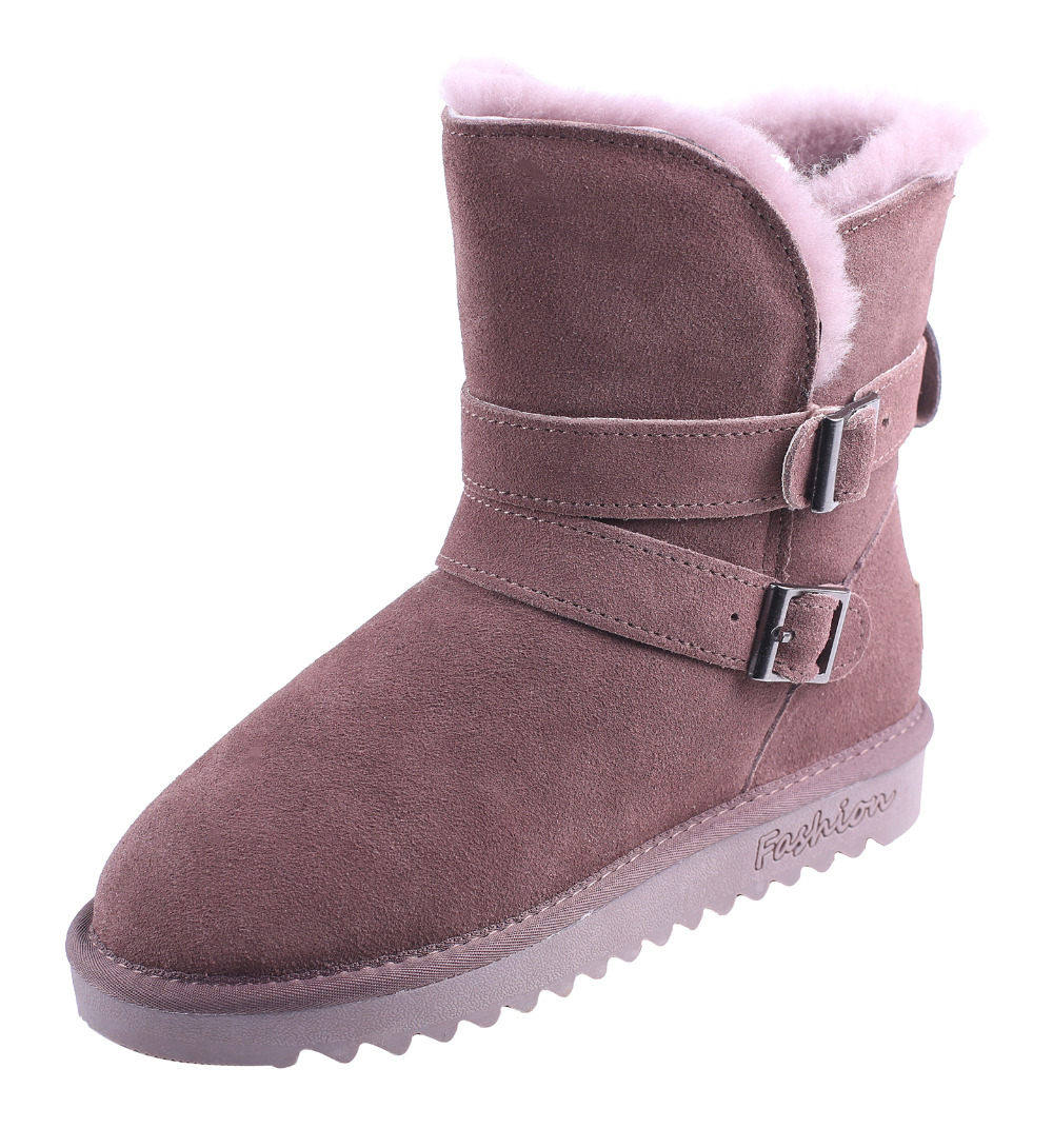 CICO Cow Suede Mid Calf Women Snow Boots Wool Women Winter Boots Fashion Women Boots with Buckle Decoration casual women s mid calf boots with metallic buckle and suede design