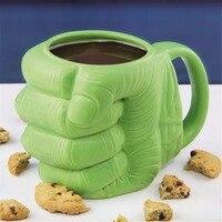 الإبداعي الأخضر هالك القبضة كأس الرموز التعبيرية أنبوب السيراميك القدح القهوة الشاي الحليب أكواب أنيمي الخزف شرب القدح صبي رجل drinkware هدية