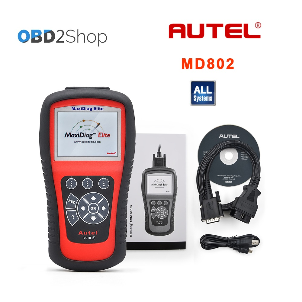 AUTEL MaxiDiag Elite MD802 Volledige systeem + DS model MD 802 PRO (MD701 + MD702 + MD703 + MD704) auto code reader