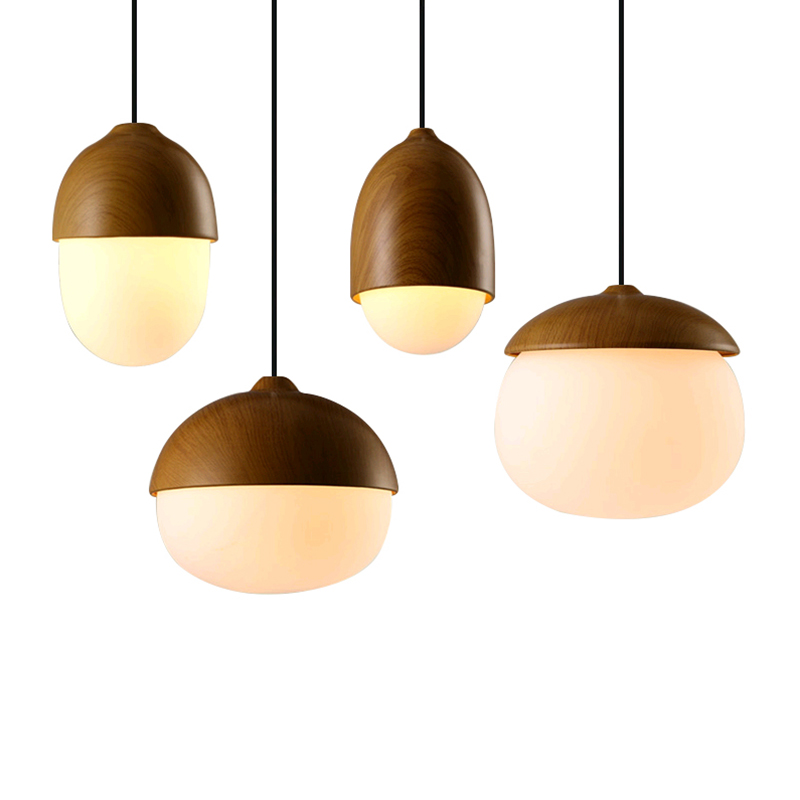 Μοντέρνο σκανδιναβικό στυλ καρύδια μενταγιόν λάμπα E27 λάμπα δημιουργική απομίμηση φως κρεμαστό κόσμημα ξύλου μελετώντας καθιστικό εστιατόριο καφέ