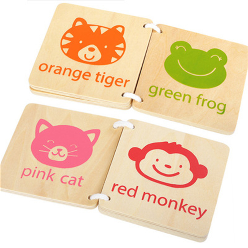 Learning Education Wooden Books Toys Creative Early Learn Wood Cute Animals Book Color Cognition For Kids Children Toys
