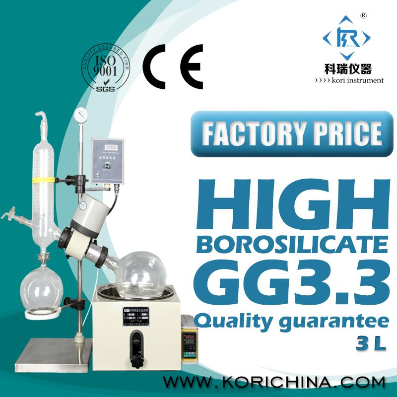 Buy 3L Glass Rotary vacuum evaportor /Rotovap  with SUS Water/Oil Bath Distillation heating Equipment  vacuum distillation 5l lab heating single layer glass reactor with water oil bath for vacuum distillation