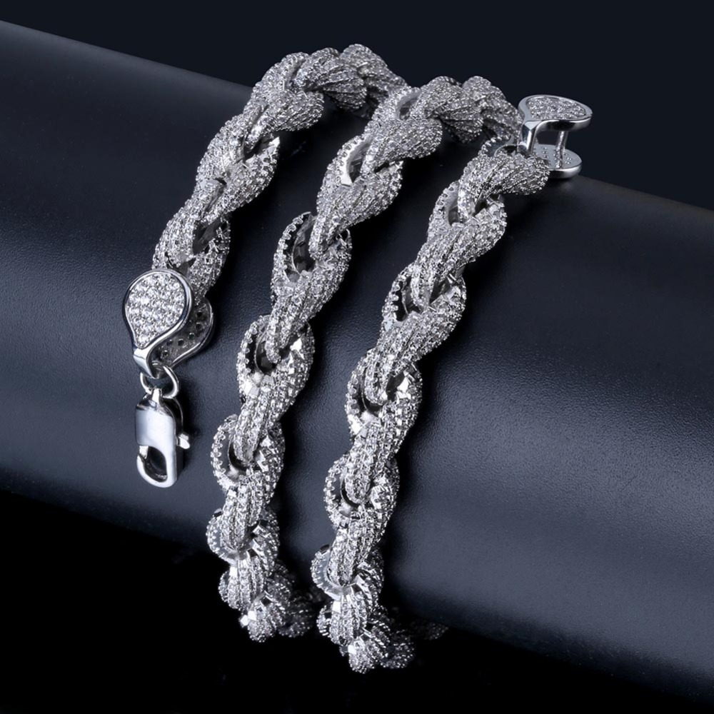 TOPGRILLZ 8mm Rope Chain Hip Hop Personalized Necklace Gold/Silver Plated Iced Out Micro Pave AAA CZ Stones Charm Chain For Men