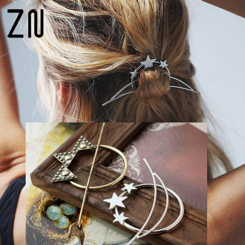 zn vintage gold silver color hair