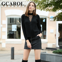 GCAROL New Arrival Autumn Winter Women Sweater Criss Cross O Neck Knitted Pullover Stretch Knit