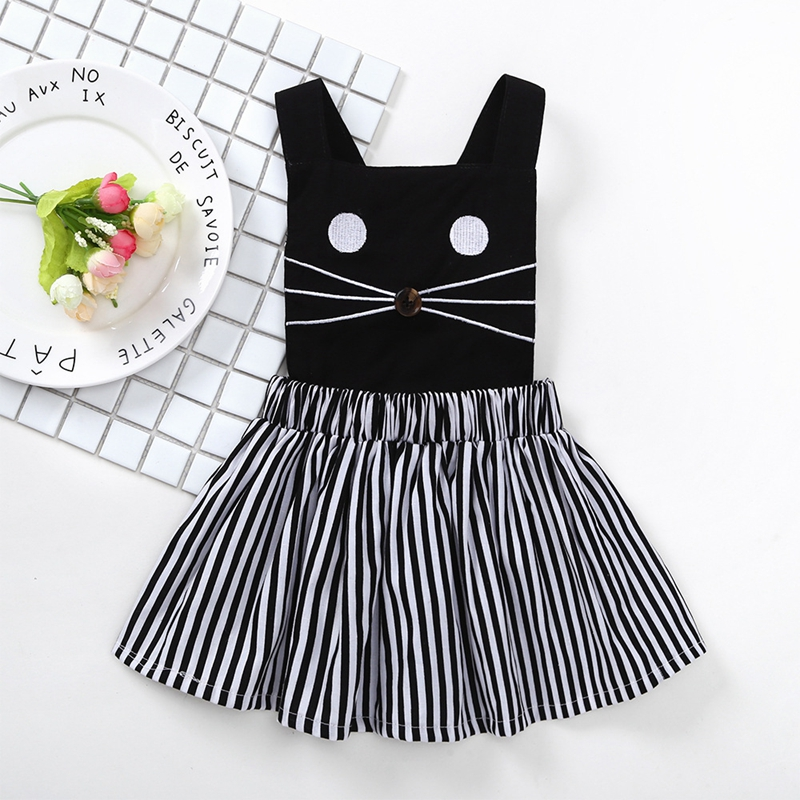 Summer 2018 Baby Girls Suits Princess Cute Cartoon Cat Sets Cotton Sling Vest+Stripes Skirts Childrens Costumes Kids Clothes