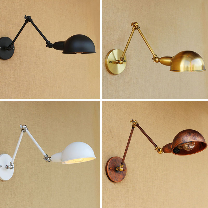 Adjustable Swing Long Arm Wall Light Vintage Home Lighting Loft Industrial Wall Lamp LED Wall Sconce Lampen Appliqued Murales top grade wood handcrafted swing arm light sconce led wall lamp nordic style home decoration lighting e27 black with switch