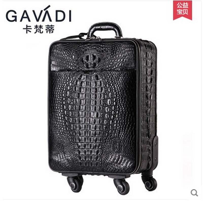 kafandi 2018 new crocodile skin Pull rod box Universal wheel luggage Suitcase card Men women boarding box