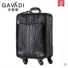 kafandi новый крокодиловой кожи тянуть стержень коробка универсальный колеса багажа чемодан карточкой Мужчины Женщины коробка-интерната