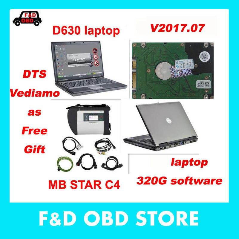 Цена за V2017.7 DTS звезды MB SD подключения компактный 4 с 320 г HDD Программное обеспечение Xentry + DAS + EPC + WIS Звезда C4 с ноутбуком D630 в наличии Бесплатная доставка DHL