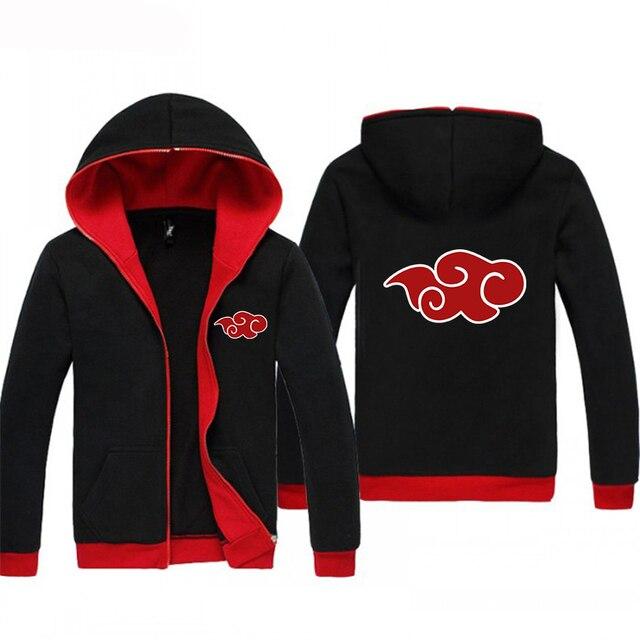 7bb440675 Drop Ship Kpop Anime Hoodies Jacket Japanese Naruto Akatsuki Red Cloud  Hoody Winter Sweatshirt Men's Sportswear Crossfit BlackRe