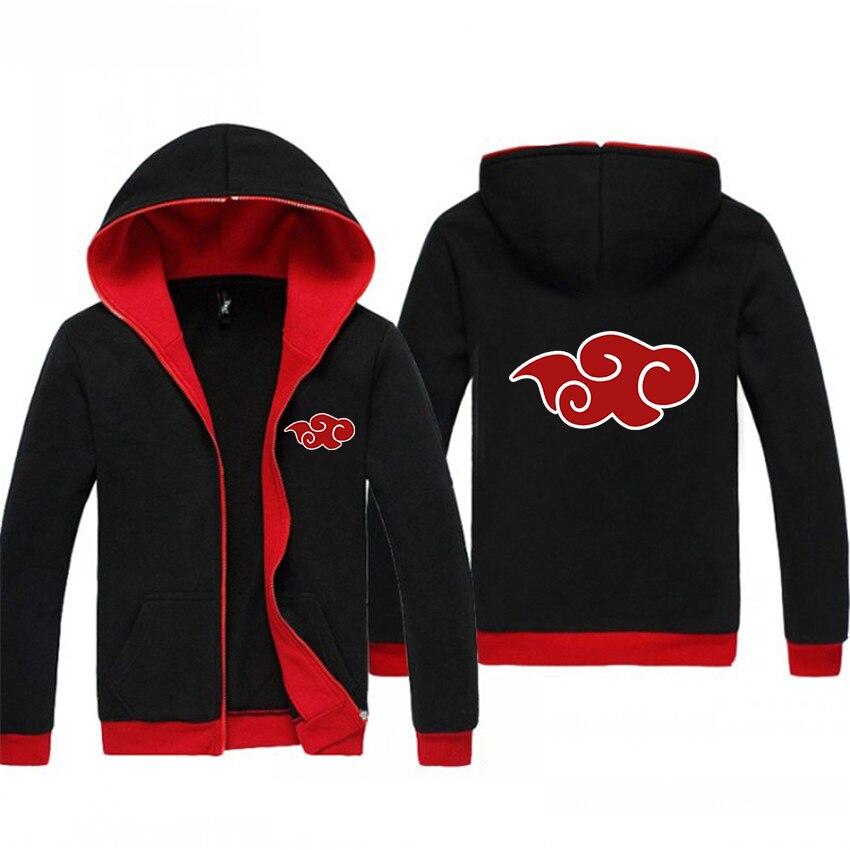 Drop Ship Kpop Anime Hoodies Jacket Japanese Naruto Akatsuki Red Cloud Hoody Winter Sweatshirt Men's Sportswear Crossfit BlackRe