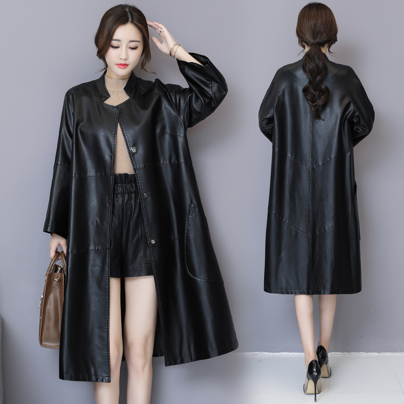 High quality spring autumn women's   leather   jacket fashion PU   leather   parka X-long casual loose   leather   coatt windbreaker