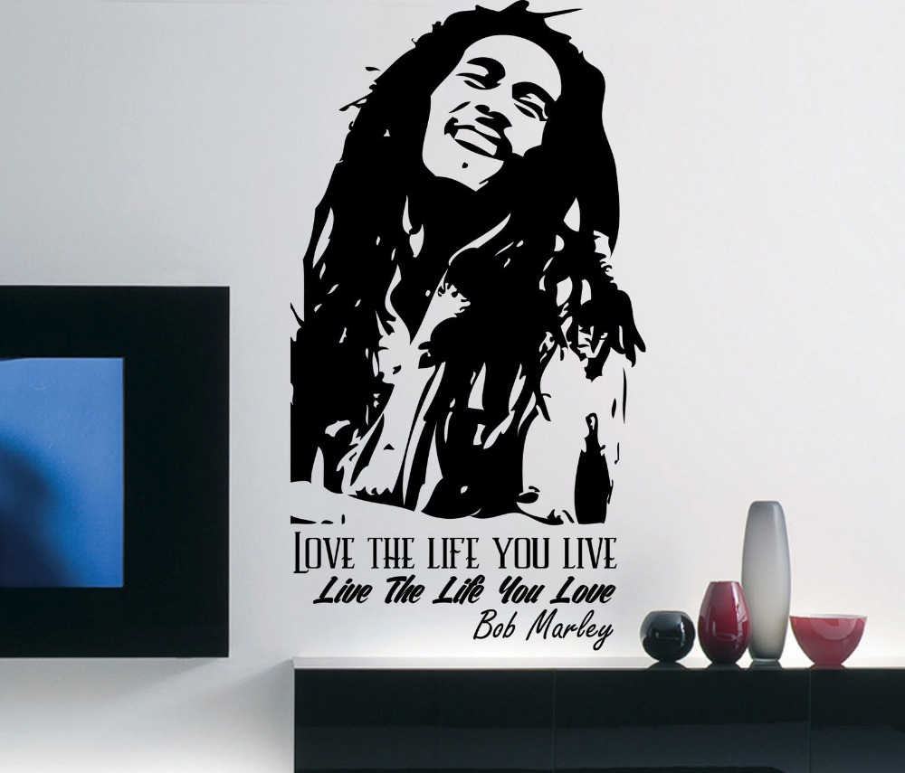 Bob Marley Wall Decal Inspirational Quote Love The Life You Live Vinyl Bedroom Sticker Removable Diy Home Decor Mural D293