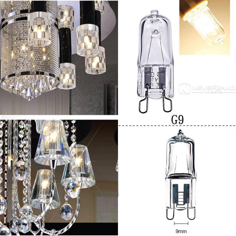 10pcs 220-240V G9 25/40/50W Halogen Capsule Transparent Replacement Light Lamp Bulb Warm White