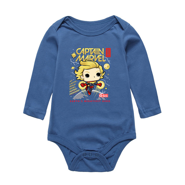 6feffdfbf Baby Bodysuits Boy Girl Clothes Newborn Cartoon CAPTAIN MARVEL Printing Girls  Boys Jumpsuits Long Sleeve Infant One-Pieces