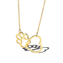 Good Luck Dog Paw with Heart Charms Pendant Necklace Love Cute Pet Pawprint Best Gift for Women Girls
