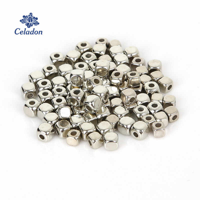 300-500 sztuka/worek 3mm/4mm rod KC złota CCB plastikowe kwadratowe nasiona koraliki Big Hole Diy Charm Spacer koraliki do tworzenia biżuterii