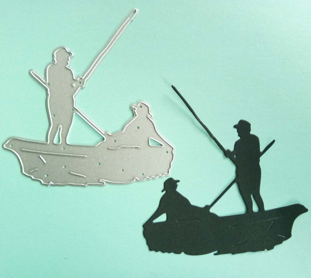 Metal Cutting Dies Men Fishing On Board Scrapbooking Embossing Card Decorations