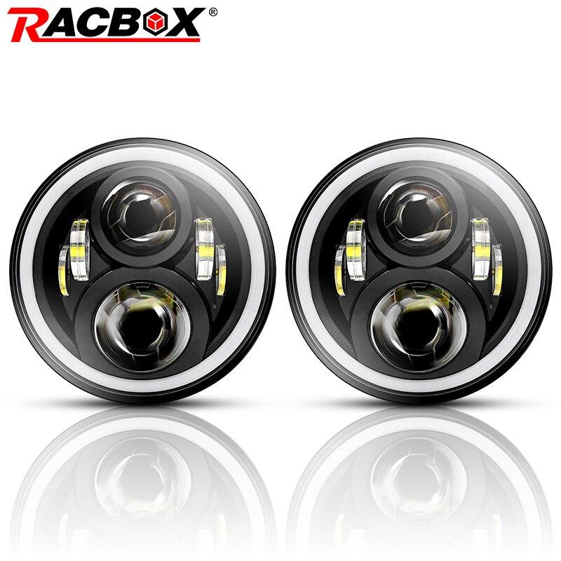 RACBOX 7 pouce LED Phare 80 w 12 v 24 v Salut/Lo Blanc DRL Ambre Allumer La Lumière Pour jeep Wrangler JK Hummer Land Rover LADA Projecteur