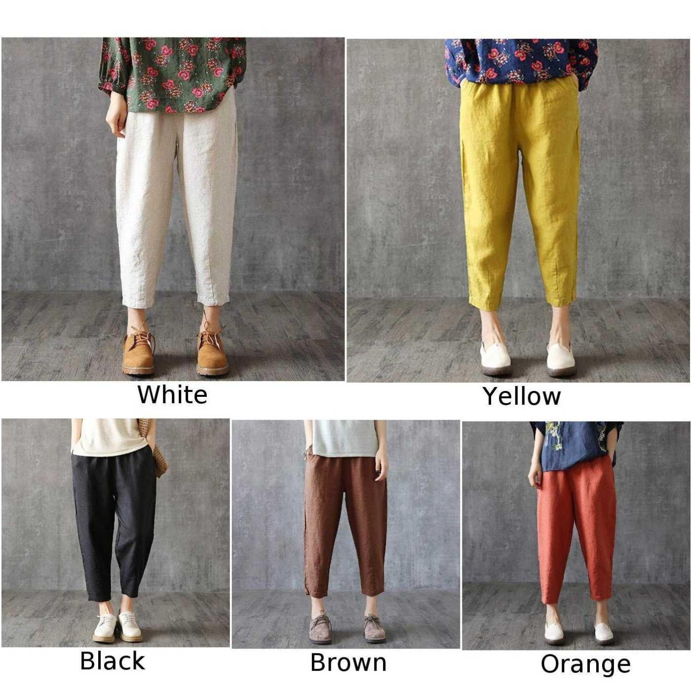 3dc0d73602 ... Women Casual Loose Solid Color Cotton Baggy Trousers Plus Size Spring  Summer Harem Pants