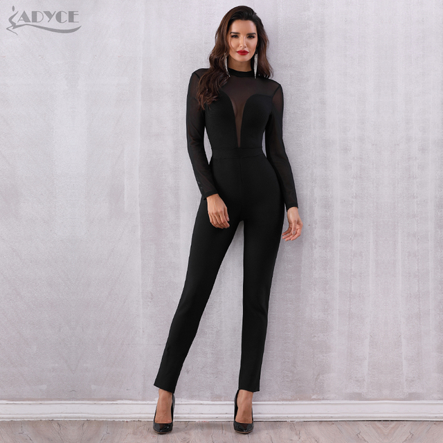 Black Mesh Hollow Out Long Sleeve Rompers Jumpsuit Bodycon Bodysuits 1