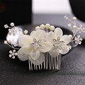 Bridal Simulated Pearl silk Flower Headbands Tiaras Wedding Hair comb Accessories Jewelry Coroa De Noiva Acessorio Para Cabelo