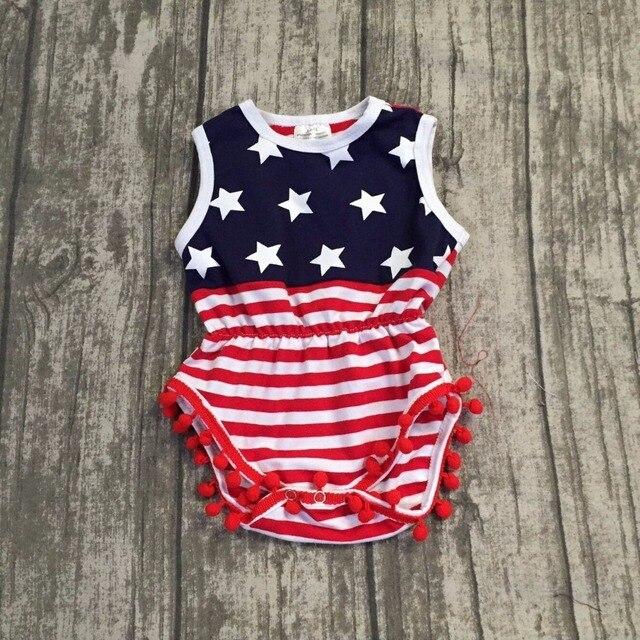 6885da30f9e3 1 piece July 4th romper patriotic romper baby kid wear navy white star red  white stripes pom pom baby clothing