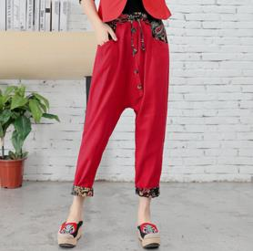 TUHAO 2018 spring Vintage Womens trouser Loose Cotton Linen Pants Elatic Waist Straight  ...
