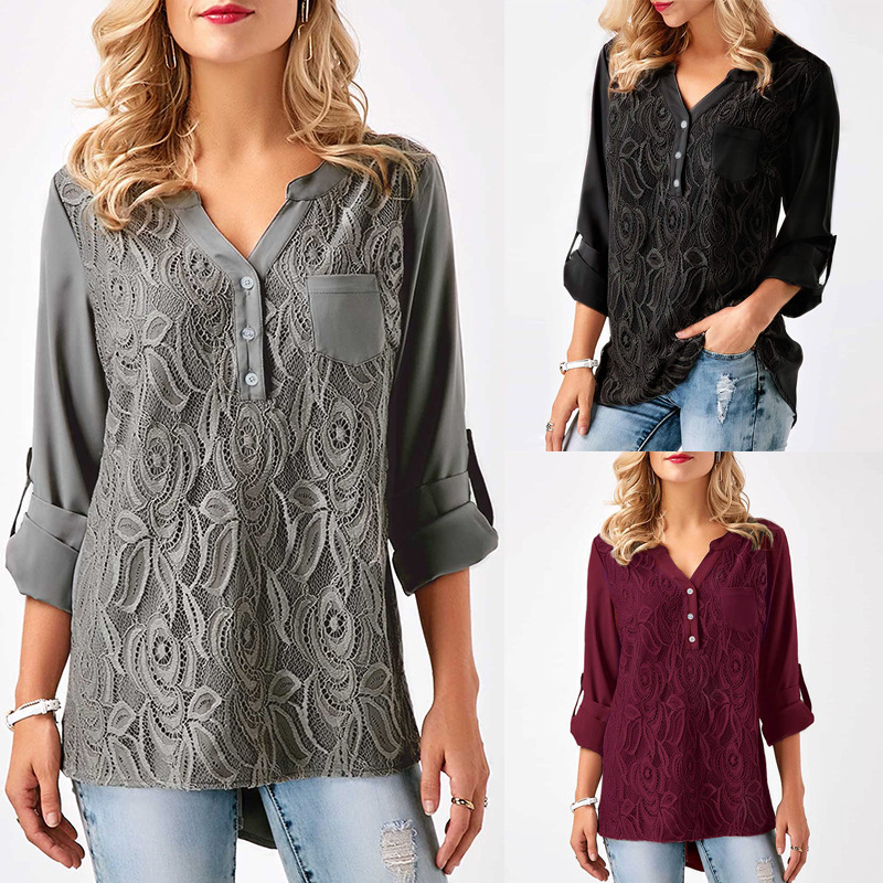 Embroidery Lace Chiffon Blouse Shirts Women Tops 2018 Autumn Winter Fashion Sexy Casual Long Sleeve Ladies Tops Plus Size S-3XL