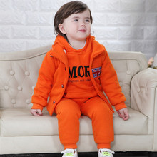 Fashion Warm Cotton Baby Hoodies Infant Pullover Trousers Coat Three piece Suit 0 4 Years Boys