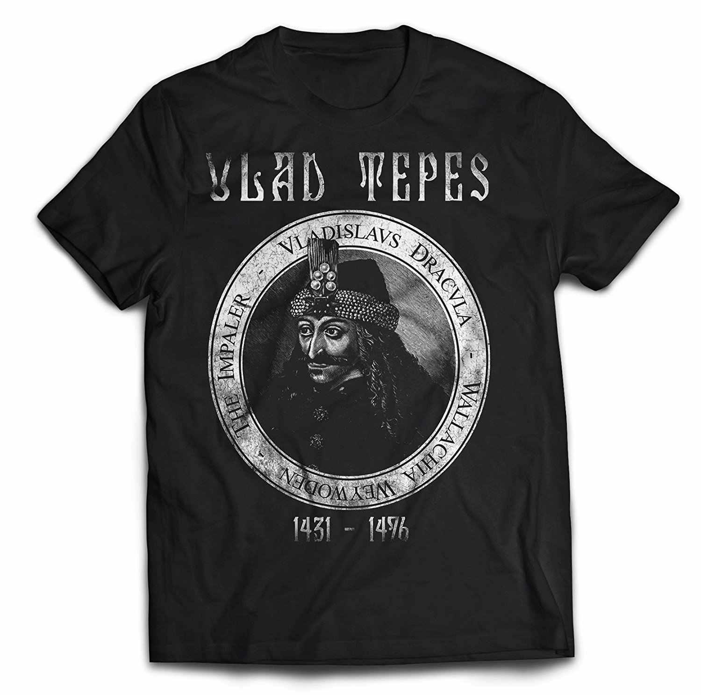 ホット販売男性のレトロなプリントデザイン Vlad Tepes Tシャツ両面サイズ S-3XL 送料無料