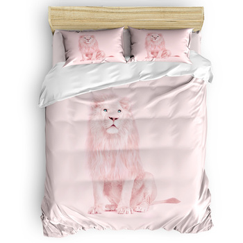 Pink  Lion Duvet Cover Set Animals Design Collection of 3/4pcs Bedding Set Bed Sheet Pillowcases Cover Set