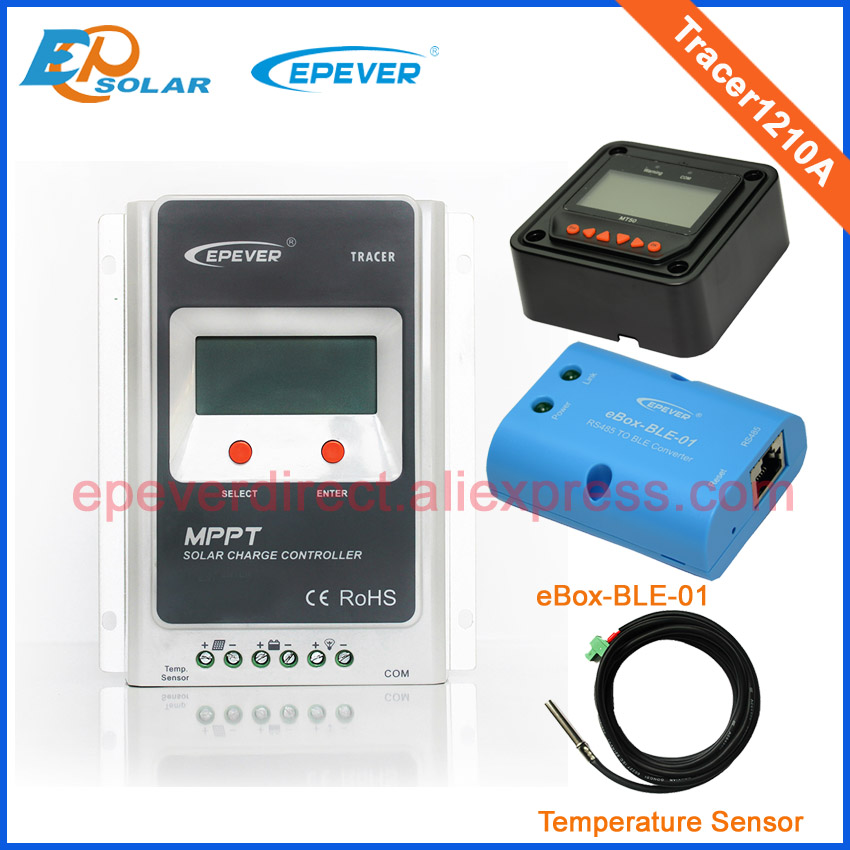 mppt EPEVER brand product solar battery controller 10A tracer1210A with MT50 bluetoth function and temperature sensor 12v 24v solar 24v 20a 20amp battery charger controller epever brand product tracer2215bn temperature sensor wifi function and mt50 meter