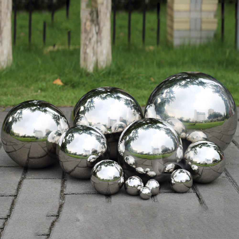 1.9/3.8/5.1/8/10cm High Brightness Shine Sphere Stainless Steel Mirror Sphere Hollow Ball Home Garden Ornament Decoration