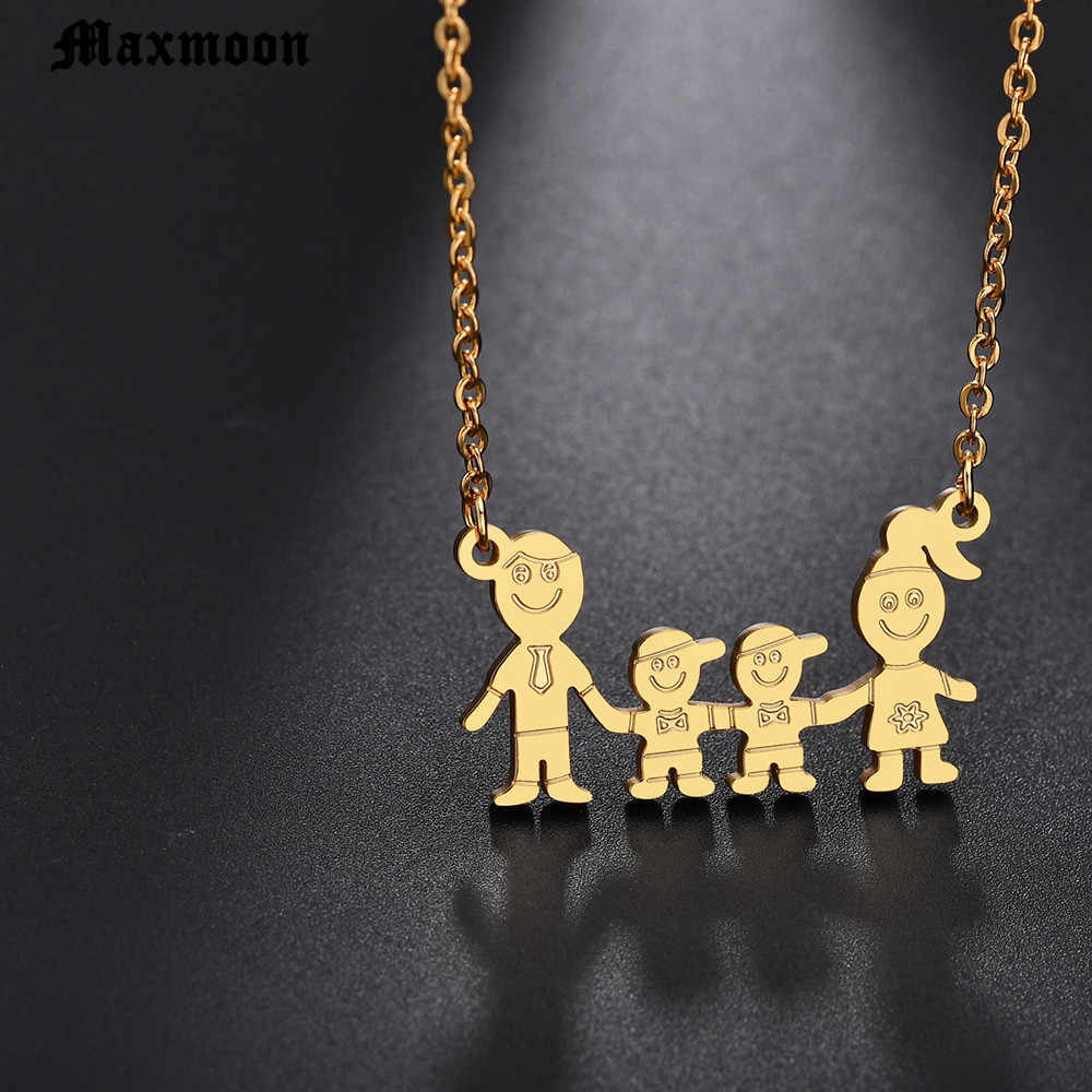 Maxmoon Acero inoxidable niñas niños collar mujeres mamá niños joyería sin cuello accesorios oro Color familia collares joyería