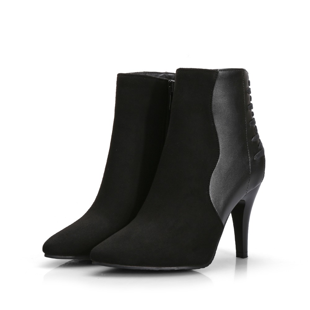 New Elegant Women Ankle Boots Zip Pointed Toe Spike Heels Boots High-quality Fashion Shoes Woman Plus Size 4-15 new 2017 spring summer women shoes pointed toe high quality brand fashion womens flats ladies plus size 41 sweet flock t179
