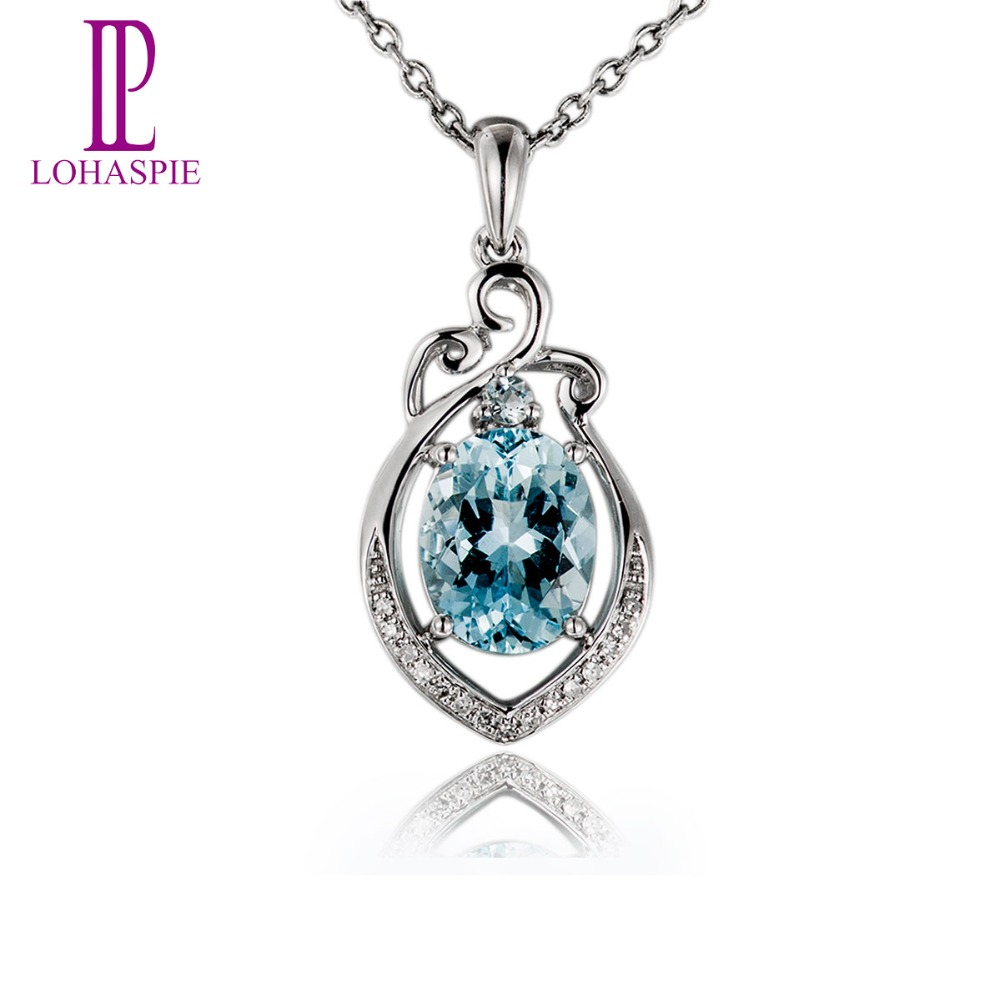 Fine Jewelry Womens Genuine Aquamarine Pendant Necklace u91y9A3X